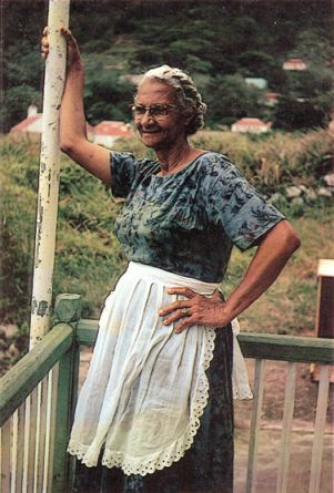 Miss Jones at the Windwardside Guesthouse in the nineteen sixties.