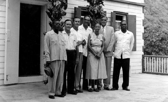 From left to right. Mr. Rupert Sorton, Mr. Arthur Anslyn, Mr. Carl Anslyn, Mr. Ciro Kroon, Miss Cornelia Johnson, Administrator Walter G.Buncamper, and Mr. Matthew Levenstone early 1955