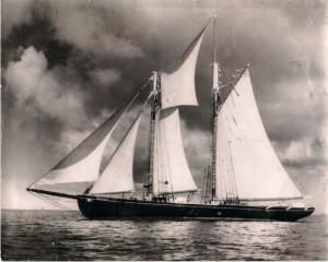 "Schooner ""Lucille Smith"" sister to the famous ""Blue Nose"" also owned by Capt. Frank Hassell of Saba/Barbados"