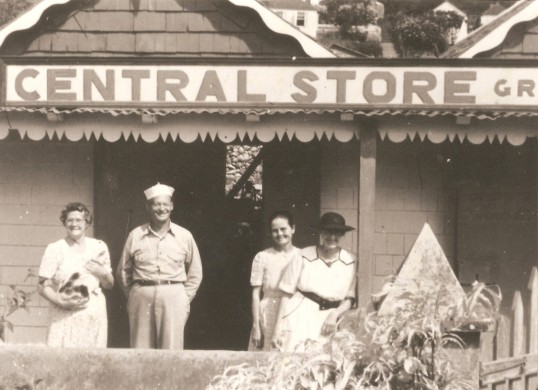 The Central Store. Maude and her husband Carl Hassell, Edith Peterson and Marion Hassell.