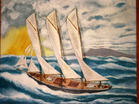 "Schooner ""Three Sisters"", Painting by Richard Hassell"