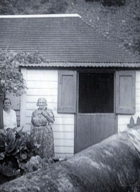 Miss Olive and her sister Marion at their father's home in The Bottom
