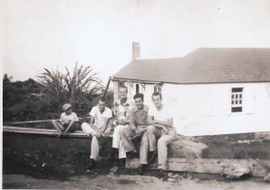 Henry Every, Howard Leverock, Floyd Every and Freddie Johnson, boy unidentified.1949?