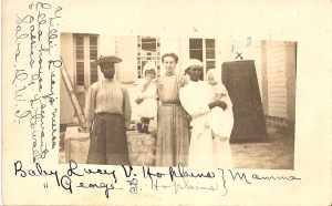 Lucy Hopkins-Rayfuse, with maids Ella and Lillie-Saba 1908