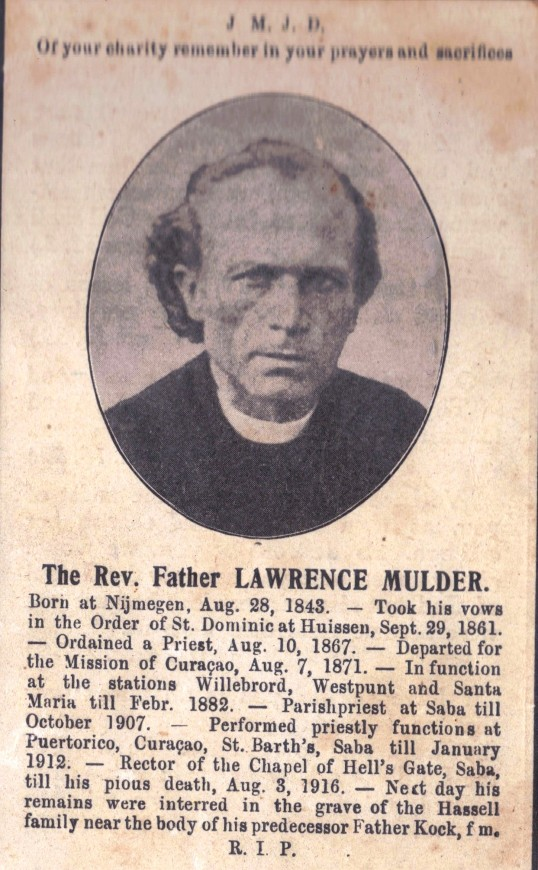 Father Lawrence Mulder buried on Saba.