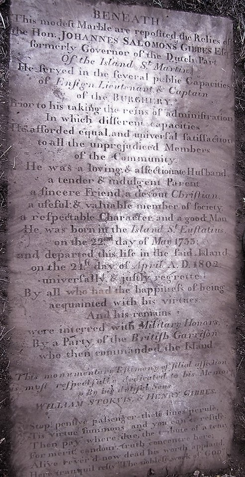 Tombstone of Commander Gibbes on St. Eustatius.