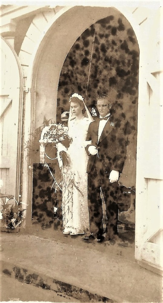 Henry Earl Johnson and his wife Olga Johnson on their wedding day. The Bottom church.