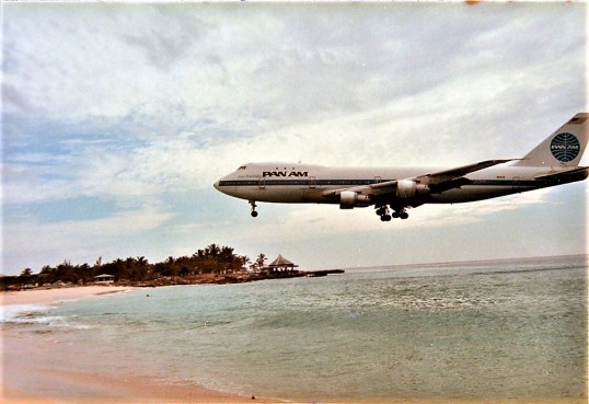 Pan American landing at St. Maarten in the nineteen seventies.